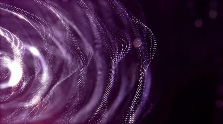 дрейф : sci-fi violet background of luminous particles that form curves, surfaces, complex structures, time-varying waves with depth of field and bokeh light effects. looped animation modern motion graphics. Стоковые видеозаписи