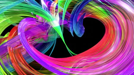 vegen : Abstract lines in motion as seamless creative background. Colorful stripes twist in a circular formation. Looped 3d smooth animation of bright shiny ribbons curled in circle. Multicolored 25 Stockvideo