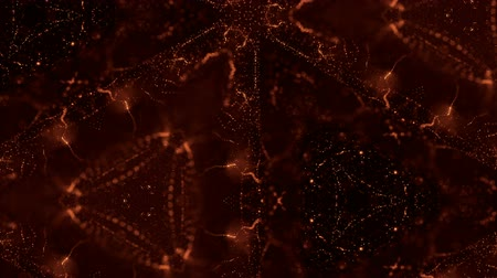 időszakos : Microworld or nano technology golden background. Seamless looped animation with glow particles. Abstract sci-fi virtual space of luminous particles oscillate and form wavy dot structures in 3d. 47