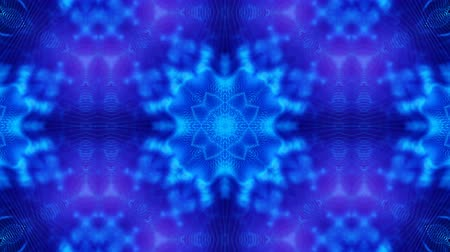 светящийся : Microworld, mandala or ornamental neon abstract background. Complex symmetric blue composition with glow particles that form wavy structures like in a kaleidoscope. 4k 3d looped smooth animation. 3 Стоковые видеозаписи