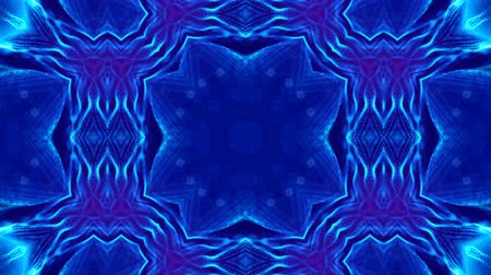 hallucination : Microworld, mandala or ornamental neon abstract background. Complex symmetric blue composition with glow particles that form wavy structures like in a kaleidoscope. 4k 3d looped smooth animation. 8