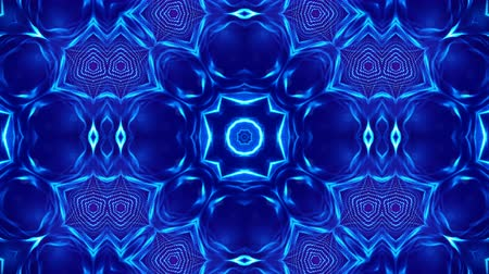 oscilante : Microworld, mandala or ornamental neon abstract background. Complex symmetric blue composition with glow particles that form wavy structures like in a kaleidoscope. 4k 3d looped smooth animation. 12 Vídeos