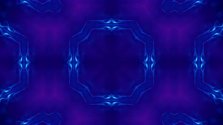 симметричный : Microworld, mandala or ornamental neon abstract background. Complex symmetric blue composition with glow particles that form wavy structures like in a kaleidoscope. 4k 3d looped smooth animation. 21