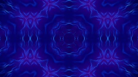 synergie : Microworld, mandala or ornamental neon abstract background. Complex symmetric blue composition with glow particles that form wavy structures like in a kaleidoscope. 4k 3d looped smooth animation. 23