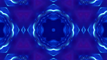 симметричный : Microworld, mandala or ornamental neon abstract background. Complex symmetric blue composition with glow particles that form wavy structures like in a kaleidoscope. 4k 3d looped smooth animation. 27