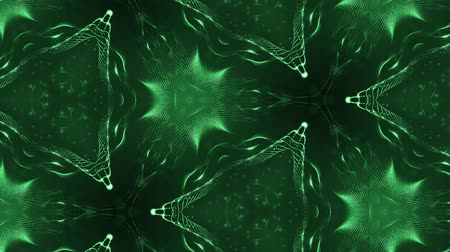 oscilante : complex green composition of particles that form cells. 3d looped smoothed particles animation with a kaleidoscope effect. Science fiction background, microworld or cyberspace 1