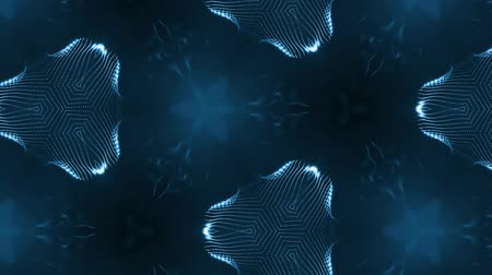 dimensão : complex blue composition of particles that form cells. 3d looped smoothed particles animation with a kaleidoscope effect. Science fiction background, microworld or cyberspace 2