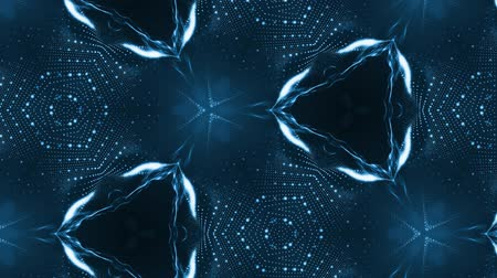 leds : complex blue composition of particles that form cells. 3d looped smoothed particles animation with a kaleidoscope effect. Science fiction background, microworld or cyberspace 3 Stock Footage