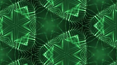 leds : complex green composition of particles that form cells. 3d looped smoothed particles animation with a kaleidoscope effect. Science fiction background, microworld or cyberspace 11 Stock Footage