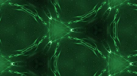 interruptor : complex green composition of particles that form cells. 3d looped smoothed particles animation with a kaleidoscope effect. Science fiction background, microworld or cyberspace 17