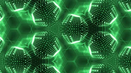 szimmetrikus : complex green composition of particles that form cells. 3d looped smoothed particles animation with a kaleidoscope effect. Science fiction background, microworld or cyberspace 19 Stock mozgókép