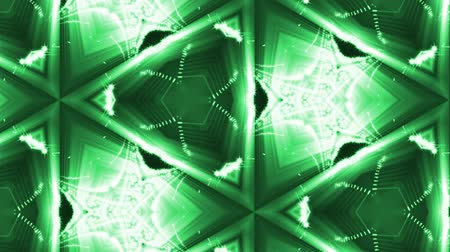 leds : complex green composition of particles that form cells. 3d looped smoothed particles animation with a kaleidoscope effect. Science fiction background, microworld or cyberspace 31