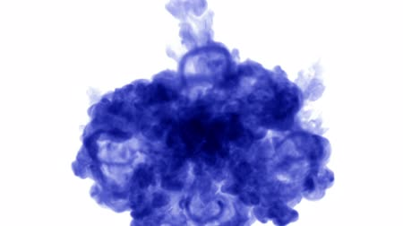 disintegration : 3d render of blue ink injection dissolves and spread in water on white background with luma matte as alpha channel for visual effects and easy compositing. 10 circular structure Stock Footage