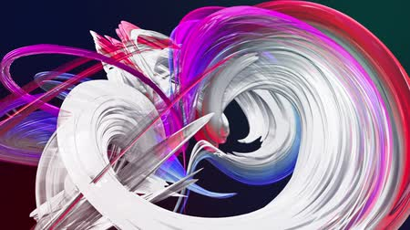 dinamic background : Abstract transparent tapes in motion as seamless creative background. Colorful stripes twist in a circular formation. Looped 3d smooth animation of bright shiny ribbons curled in circle. Multicolored Stock Footage