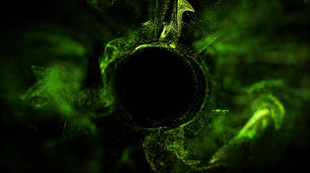 ennek : 4k glow particles move in liquid flow and stumble upon a force field in the center of frame pushing apart particles, this is place for text. 3d sparkle ink with depth of field. Green 4 Stock mozgókép