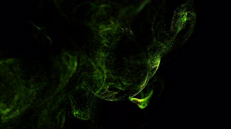 ennek : 4k glow particles move in liquid flow and stumble upon a force field in the center of frame pushing apart particles, this is place for text. 3d sparkle ink with depth of field. Green 11