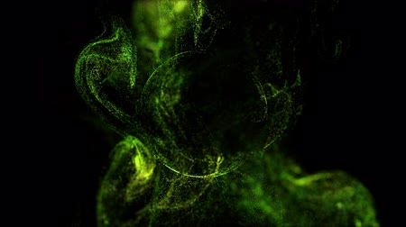 yumuşaklık : 4k glow particles move in liquid flow and stumble upon a force field in the center of frame pushing apart particles, this is place for text or a logo. 3d sparkle ink with depth of field. Green 12