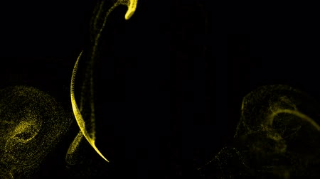 ennek : 4k glow particles move in liquid flow and stumble upon a force field in the center of frame pushing apart particles, this is place for text or a logo. 3d sparkle ink with depth of field. Yellow 11