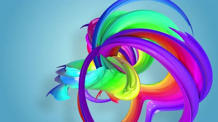 homosexualité : multi-color ribbon is twisted and moves in a circle. Rainbow colored ribbon LGBT symbol animated in motion design with copy space. Looped smooth animation in 4K. Ver 15