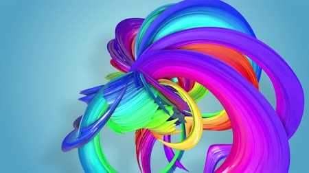 kroutit : multi-color ribbon is twisted and moves in a circle. Rainbow colored ribbon LGBT symbol animated in motion design with copy space. Looped smooth animation in 4K. Ver 36