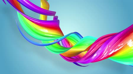 tahy : multi-color ribbon is twisted and moves in a circle. Rainbow colored ribbon LGBT symbol animated in motion design with copy space. Looped smooth animation in 4K. Ver 43