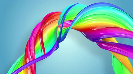 zametání : multi-color ribbon is twisted and moves in a circle. Rainbow colored ribbon LGBT symbol animated in motion design with copy space. Looped smooth animation in 4K. Ver 49 Dostupné videozáznamy