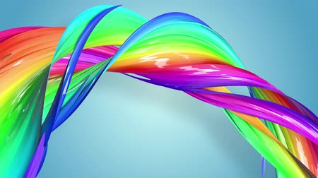 sheen : multi-color ribbon is twisted and moves in a circle. Rainbow colored ribbon LGBT symbol animated in motion design with copy space. Looped smooth animation in 4K. Ver 66 Stock Footage