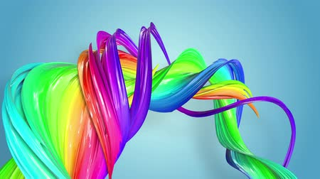 sheen : multi-color ribbon is twisted and moves in a circle. Rainbow colored ribbon LGBT symbol animated in motion design with copy space. Looped smooth animation in 4K. Ver 76 Stock Footage