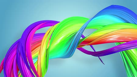 lesbijki : multi-color ribbon is twisted and moves in a circle. Rainbow colored ribbon LGBT symbol animated in motion design with copy space. Looped smooth animation in 4K. Ver 83