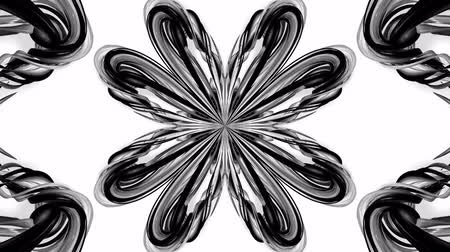estetický : 4k loop animation with black and white ribbons are twisted and form complex structures like symmetric ornament pattern or kaleidoscopic effect. Seamless footage with luma matte as alpha channel. 2