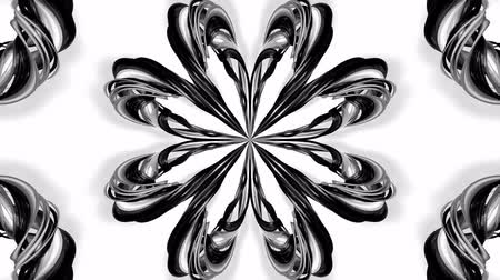 シンメトリック : 4k loop animation with black and white ribbons are twisted and form complex structures like symmetric ornament pattern or kaleidoscopic effect. Seamless footage with luma matte as alpha channel. 5