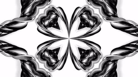 arabeska : 4k loop animation with black and white ribbons are twisted and form complex structures like symmetric ornament pattern or kaleidoscopic effect. Seamless footage with luma matte as alpha channel. 29 Dostupné videozáznamy