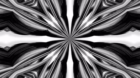 geometrical : 4k loop animation with black and white ribbons are twisted and form complex structures like symmetric ornament pattern or kaleidoscopic effect. Seamless footage with luma matte as alpha channel. 32 Stock Footage
