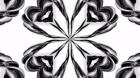 arabeska : 4k loop animation with black and white ribbons are twisted and form complex structures like symmetric ornament pattern or kaleidoscopic effect. Seamless footage with luma matte as alpha channel. 47 Dostupné videozáznamy
