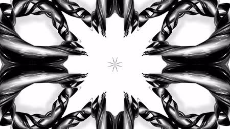 hallucination : 4k loop animation with black and white ribbons are twisted and form complex structures like symmetric ornament pattern or kaleidoscopic effect. Seamless footage with luma matte as alpha channel. 49