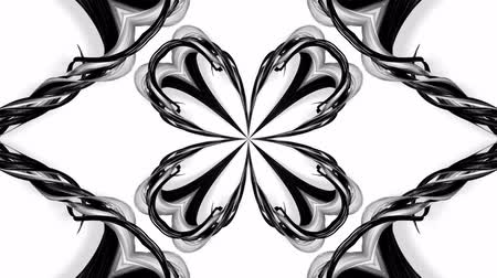 contínuo : 4k loop animation with black and white ribbons are twisted and form complex structures like symmetric ornament pattern or kaleidoscopic effect. Seamless footage with luma matte as alpha channel. 53
