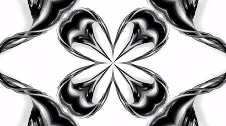 arabeska : 4k loop animation with black and white ribbons are twisted and form complex structures like symmetric ornament pattern or kaleidoscopic effect. Seamless footage with luma matte as alpha channel. 64 Dostupné videozáznamy