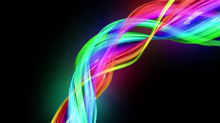 haklar : transparent colored lines with a neon glow on a black background. Motion graphics 3d looped background with multicolor colorful rainbow ribbons. Beautiful seamless background in motion design style. 2 Stok Video