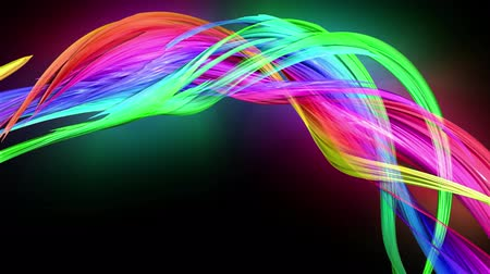 haklar : transparent colored lines with a neon glow on a black background. Motion graphics 3d looped background with multicolor colorful rainbow ribbons. Beautiful seamless background in motion design style. 9