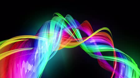 minoria : transparent colored lines with a neon glow on a black background. Motion graphics 3d looped background with multicolor colorful rainbow ribbons. Beautiful seamless background in motion design style 10