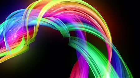 kisebbség : transparent colored lines with a neon glow on a black background. Motion graphics 3d looped background with multicolor colorful rainbow ribbons. Beautiful seamless background in motion design style 12