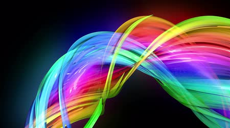 sugárzó : transparent colored lines with a neon glow on a black background. Motion graphics 3d looped background with multicolor colorful rainbow ribbons. Beautiful seamless background in motion design style 13