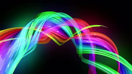 radiante : transparent colored lines with a neon glow on a black background. Motion graphics 3d looped background with multicolor colorful rainbow ribbons. Beautiful seamless background in motion design style 14 Stock Footage
