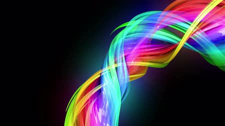 sheen : transparent colored lines with a neon glow on a black background. Motion graphics 3d looped background with multicolor colorful rainbow ribbons. Beautiful seamless background in motion design style 15