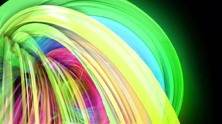 minoria : transparent colored lines with a neon glow on a black background. Motion graphics 3d looped background with multicolor colorful rainbow ribbons. Beautiful seamless background in motion design style 23