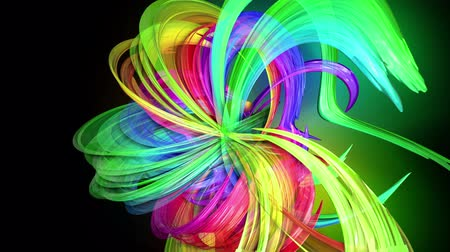 direitos : transparent colored lines with a neon glow on a black background. Motion graphics 3d looped background with multicolor colorful rainbow ribbons. Beautiful seamless background in motion design style 26
