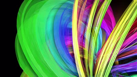 direitos : transparent colored lines with a neon glow on a black background. Motion graphics 3d looped background with multicolor colorful rainbow ribbons. Beautiful seamless background in motion design style 29