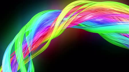 kisebbség : transparent colored lines with a neon glow on a black background. Motion graphics 3d looped background with multicolor colorful rainbow ribbons. Beautiful seamless background in motion design style 32