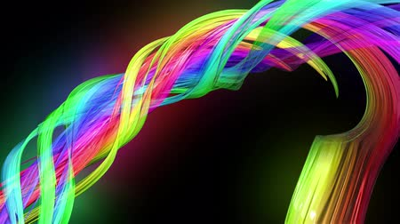 jednoduchý : transparent colored lines with a neon glow on a black background. Motion graphics 3d looped background with multicolor colorful rainbow ribbons. Beautiful seamless background in motion design style 38