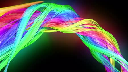 minoria : transparent colored lines with a neon glow on a black background. Motion graphics 3d looped background with multicolor colorful rainbow ribbons. Beautiful seamless background in motion design style 40